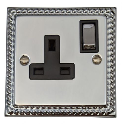 G&H MC309 Monarch Roped Polished Chrome 1 Gang Single 13A Switched Plug Socket